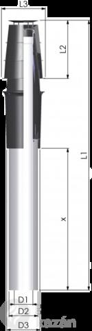 Tricox AATH607C alu/alu 80/125 hosszabbító 1000mm